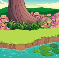 Ett landskap vid flodbredden