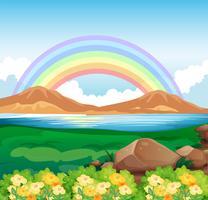 En vy över regnbågen och den vackra naturen vektor