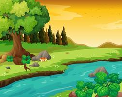 Den strömmande floden vid skogen