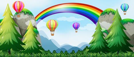 Regnbåge och ballonger vektor