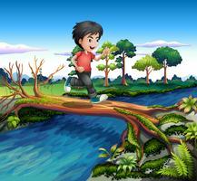 En pojke som kör medan du korsar floden vektor