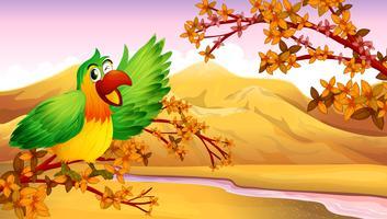 Ein grüner Papagei in einer Herbstlandschaft vektor