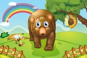 En stor brun björn i backarna vektor