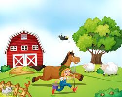 Landwirt und Pferd