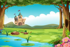Schloss und Teich vektor