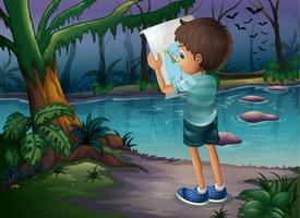 En pojke med en karta som står mitt i skogen vektor