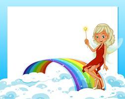 En tom mall med en regnbåge och en fe vektor