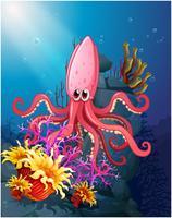 En bläckfisk under havet