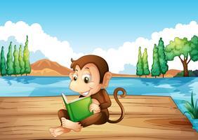 En apa som läser en bok som sitter vid hamnen