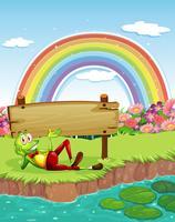 Ein Frosch am Teich mit einem Holzbrett und einem Regenbogen im Himmel
