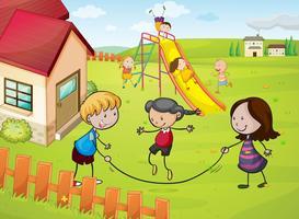 barn och ett hus