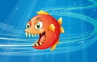En röd piranha under havet vektor