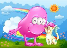 Ein rosa Monster und eine Katze am Gipfel mit einem Regenbogen im Himmel