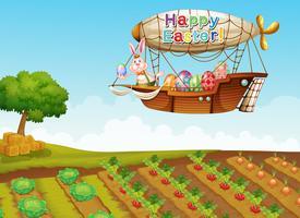 Ein fröhlicher Ostern-Gruß mit einem Häschen in einem Flugzeug über dem Bauernhof