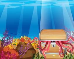 En skattlåda med en bläckfisk