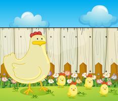 Eine Henne und die vier Küken