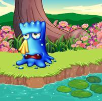 Ein Monster, das am Flussufer weint vektor