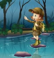 Ein Mädchen über einem Felsen im Fluss