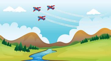 Fliegende Flugzeuge und eine wunderschöne Landschaft