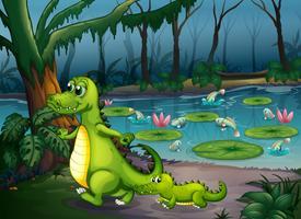 En skog med en damm, krokodiler och fiskar