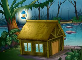 Ein Bambushaus im Dschungel vektor