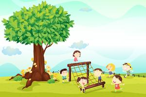 barn leker under ett träd