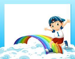 Eine leere Vorlage mit einem Jungen, der über den Wolken und dem Regenbogen spielt