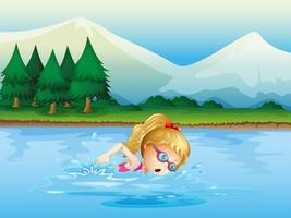 En tjej simmar nära tallarna vektor