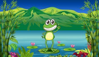 Ein Frosch, der über einer Seerose steht vektor