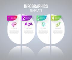 Infografiken Elemente mit 4 Schritten für Präsentationskonzept