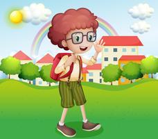 En pojke går hem från skolan