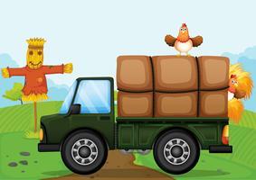 Ein Huhn und die Vogelscheuche
