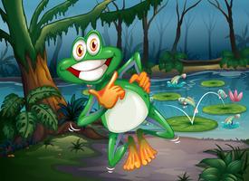Ein Wald mit einem verspielten Frosch und Fischen am Teich