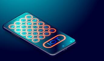 IOT-Internet von Sachen auf Smartphoneanwendungen, zusammen verbundenen Smartthings und Fernbedienung durch Smartphonegerätvektor