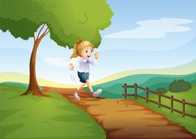 En ung dam springar skyndsamt