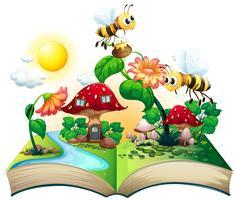 Bienen fliegen über die Blumen vektor