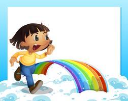 En tom mall med en ung tjej som kör och en regnbåge