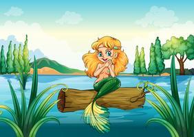 Eine Meerjungfrau über dem Baumstamm