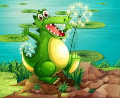 En krokodil över stubben nära dammen