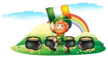 Vier Töpfe Münzen auf der Rückseite eines Mannes mit der Irland-Flagge