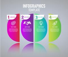 Buntes Infographics-Schablonendesign, abstrakte Elemente von Grah mit Schritten.