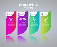 Buntes Infographics-Schablonendesign, abstrakte Elemente von Grah mit Schritten. Vektor-Illustration.