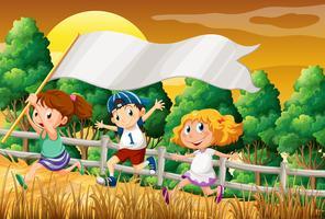 Kinder am Holz, das eine leere Fahne hält vektor
