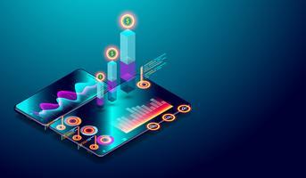 Geschäftsverlaufsanalyse auf isometrischem Smartphoneschirm mit Diagrammen, Markttrend und Finanzanalysevektor.