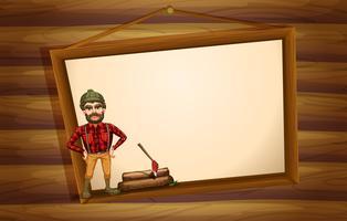 Ein Holzfäller, der vor dem hängenden leeren Brett steht