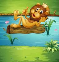 Ein lächelnder Löwe auf einem trockenen Holz
