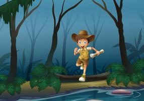 En äventyrare i skogen vektor