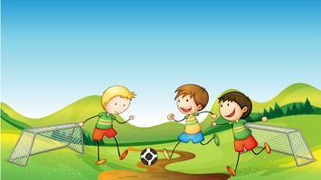 Barn som spelar fotboll vektor