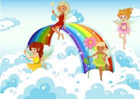 Fairies ovanför himlen nära regnbågen vektor