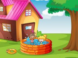 ett hus och barn vektor